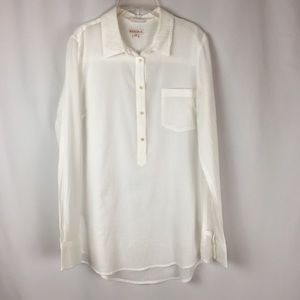 Merona White Cotton Gauze Fabric Tunic Sz L